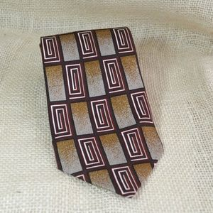 Vintage brown, red and white geometric tie